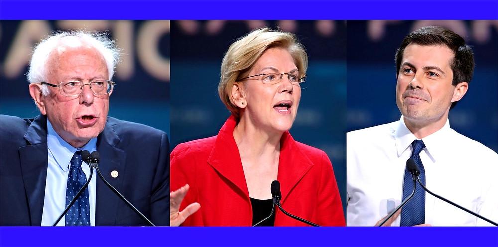 Composite Illustration (l. to r.):Bernie Sanders,  Elizabeth Warren and Pete Buttigieg by Gage Skidmore [CC BY-SA 2.0] via Flickr
