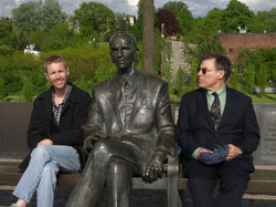 Playwright Arthur Feinsod and Stage Manager Charles Adams with Karski statue