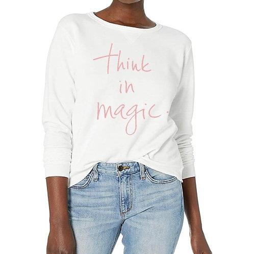 """Think in Magic"" Sweatshirt Rose/White with Swarovski crystals"