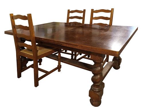 Table bois avec 2 rallonges et 4 chaises