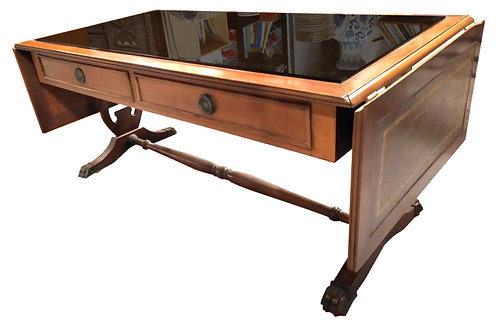 Table basse (marqueterie cuir et verre) avec rabats