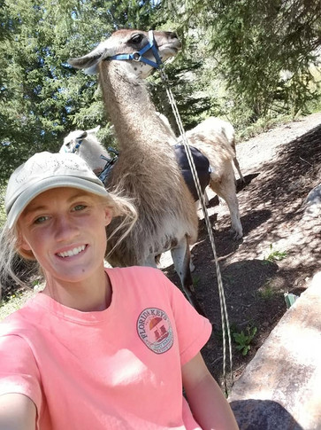 Tina and Taylor on our first pack trip with llamas