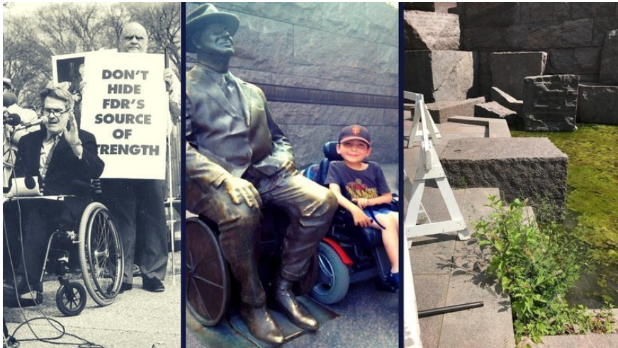 Image1: Newspaper clip of the protests for the statue. Image 2: A young boy in a wheelchair sitting next to the FDR Wheelchair statue. Image 3: The broken fountains with swampy water and overgrowth