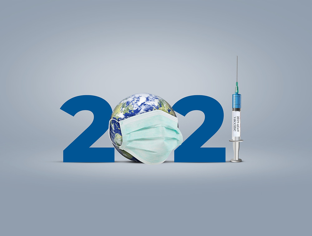 Image of the year 2021 with the zero that looks like the globe wearing a mask and the number 1 is represented by a syringe
