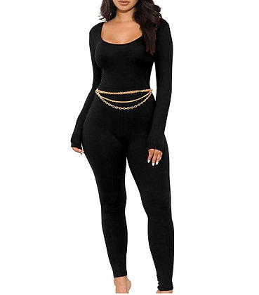 Long Sleeve Bodycon Solid Outfits Club Rompers Jumpsuits