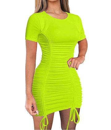 Women Sexy Summer Club Ruched Short Sleeve Drawstring Mini Bodycon Dress