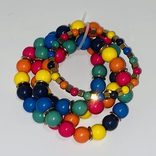 Acrylic stretch bracelet sets