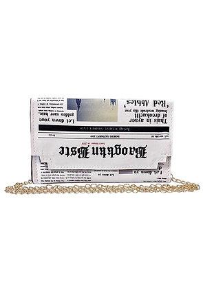 """EVENING NEWS"" White purse Flat Evening Bag Small Clutch Envelope CrossBody Bag"