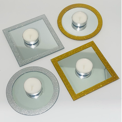 Mirror plate tea candle holders