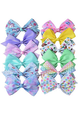 Hair Bows Clips for Girls - 5 Inches Alligator Clips for Girls Large Bow Unicorn