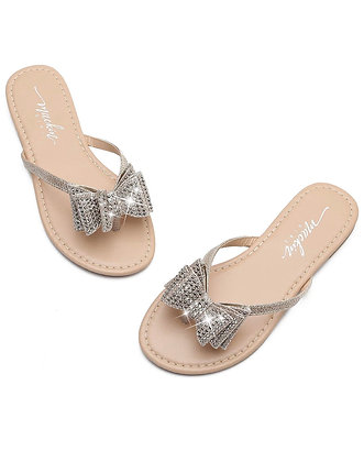Women's Flip Flops Rhinestones Bow Thong Flat Dress Sandals