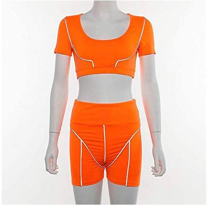 Reflective 2 Piece Outfits - Bodycon Sleeveless Vest Crop Top+ Short Pants Set