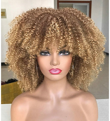 14 inch Afro Kinky Curly Wig with Bangs