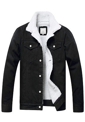 Men's Fleece Jean Jacket Winter Cotton Sherpa Lined Denim Trucker Jacket