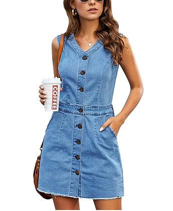 """Jeanie"" Women Sleeveless V Neck Button Down Frayed Hem Short Denim Dress"