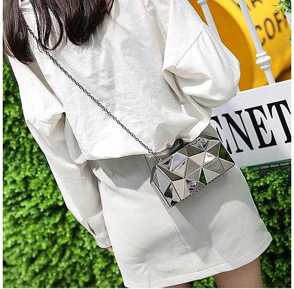 """EVENING METAL"" Womens Metal Clutch Geometric Evening Handbag"