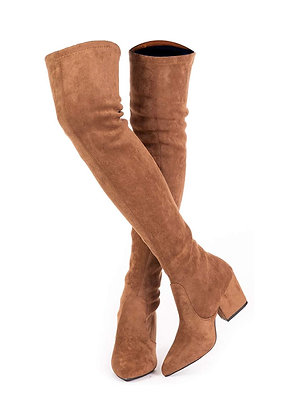 Thigh High Block Heel Boot Women Stretch Over The Knee Boots