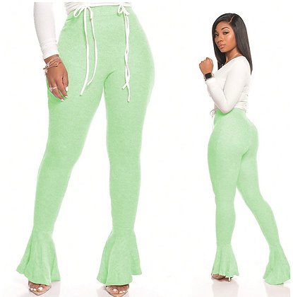 Womens Casual Solid Color Cotton Bell Bottom Flare Yoga Sport Pants Trousers
