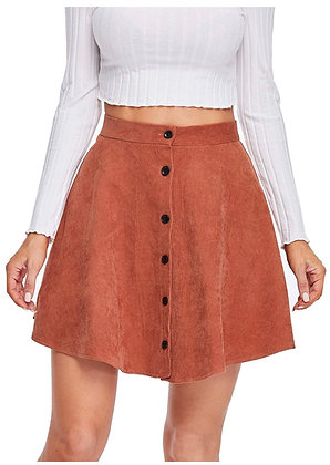 Women's Button Up Flare A-Line Corduroy Skater Cord Short Skirt