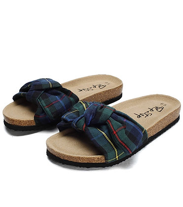 """""""Bow - Stocks"""" Sandals for Women/Cork Sole/Canvas Knot Bow"""