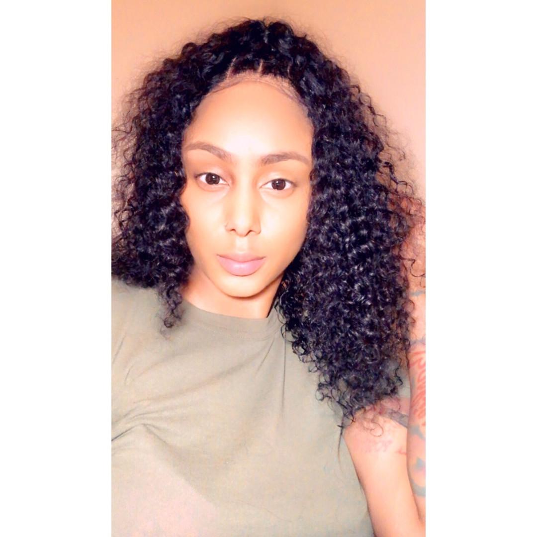 custom 4x4 16 inch curly closure wig