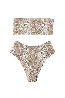 Women's 2 Pieces Bandeau Bikini Swimsuits Off Shoulder High Waist Bathing Suit