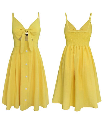 Summer Tie Front V-Neck Spaghetti Strap Button Down A-Line Backless Swing Dress