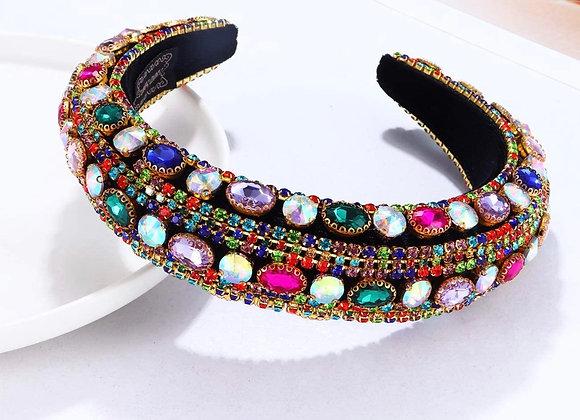 Rhinestone Headband for Women Statement Wide Baroque Bejeweled