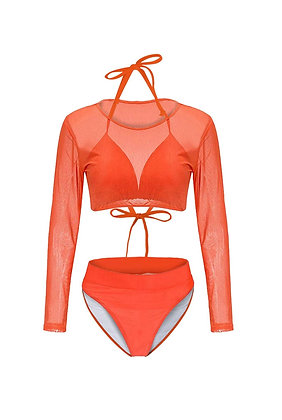 Women's 3 Pieces Swimsuit with Long Sleeve Mesh Shirt Coverup