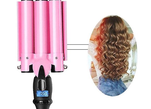 Perfson 3 Barrel Curling Iron Anti-scalding Crimper Hair Iron with LCD Temperatu