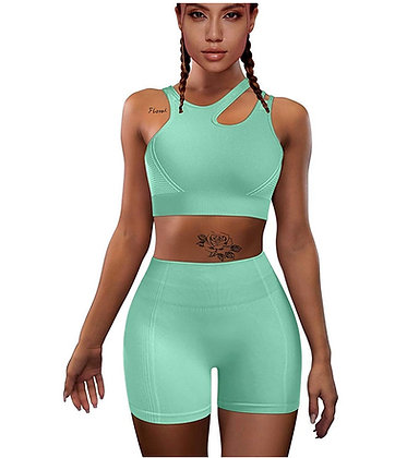 Yoga 2 Piece Outfits High Waist Sports Shorts Removable Padded Bra Set