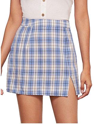 Women's Plaid Skirt Zipper Back High Waist A-Line Mini Skirt