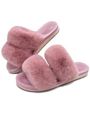 """Furry Flirty"" Womens Fur Sliders Plush Fluffy Slippers"