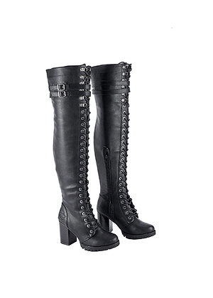 Milwaukee Ladies Knee High Laced Boots