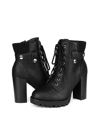 Fashion Ankle Boots - Chunky High Heel Booties