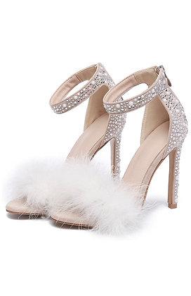 Open toe Pearl Sandal Heels