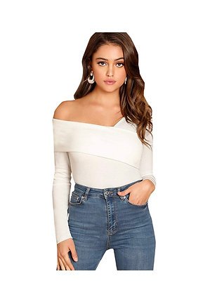 Women's Casual Cross Off Shoulder Deep V Neck Ribbed Knit Blouse
