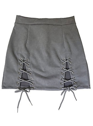 """""""Laced Up"""" Meyeeka Womens Sexy High Waist Lace Up Bodycon Faux Suede Skirt"""