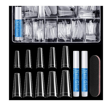 Clear Nail Tips Half Cover and Glue (500pcs)