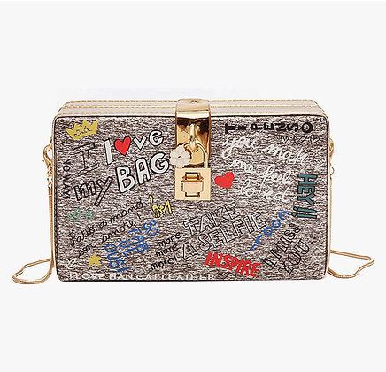 """I LOVE MY BAG"" Women Girls Box Clutch Crossbody Shoulder Purse"