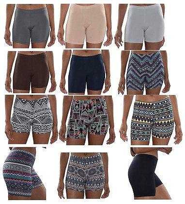 Sexy Basics Womens 12 Pack Soft Brushed Active Yoga Stretch Mini -Bike Shorts
