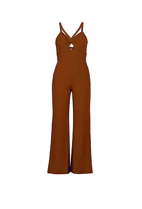 Spaghetti Strap Tie up Backless High Waist Long Wide Leg Pant Jumpsuit
