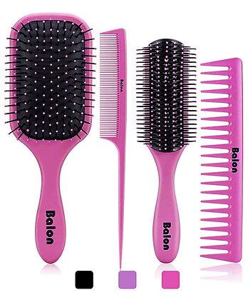 4pc Hairbrush + Comb Set