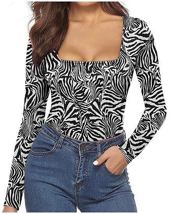 Women's Square Neck Long Sleeved Bodysuit