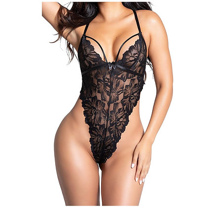 """BACK OUT"" Yandy Elegant Bodysuit Featuring Sheer Lace Bodice"