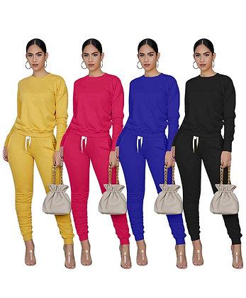 Women's 2 Piece Outfit Activewear Long T-Shirts Pants 2 piece set