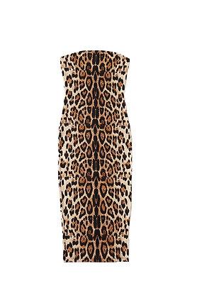 """Cheetah Vibes""  Women's Sexy Strapless Leopard Print Tube Midi Club Dress"