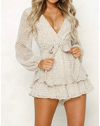 Women's Polka Dot Jumpsuits Deep V-Neck Long Sleeve Knot Front Ruffle Hem Floral