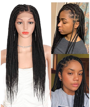 Knotless braided lace front wig