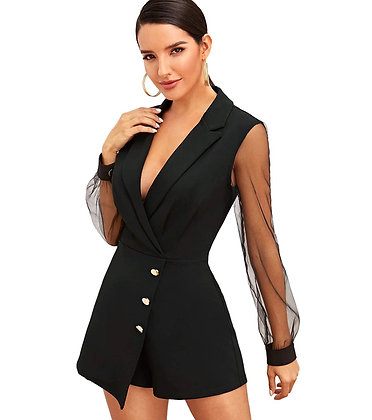 Notch Collar Mesh Sleeve Button Wrap Trim Jumpsuit